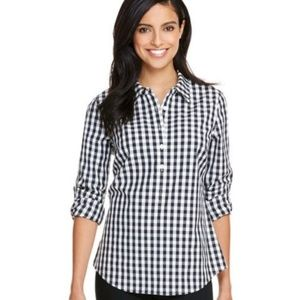 Vineyard Vines Gingham Flannel Popover Black White